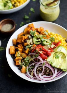 Easy Sweet Potato Black Bean Quinoa Bowl topped with a zesty Cilantro Dressing you'll want to pour all over. Healthy Coleslaw Recipes, Healthy Eating Recipes, Healthy Cooking, Healthy Eats, Sweet Quinoa Recipe, Black Bean Quinoa, Cilantro Dressing, Legumes Recipe, Quinoa Bowl