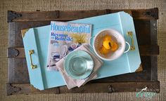 Get budget home decorating ideas, like this simple, beginner friendly DIY wood serving tray tutorial at foxhollowcottage.com | Painted in Aqua and finished in White Lime Wax, it's perfect for a Coastal Cottage Style!