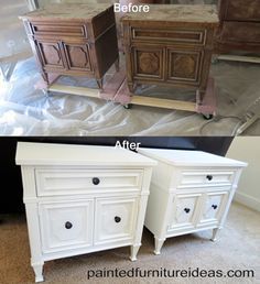 I bought these Drexel nightstands from someone on Craigslist. I got a great deal on them. I only spent $40 to get them both. They are super sturdy, with dove-tailed drawers and the insides of the drawers are clean. I masked behind the drawer fronts with masking tape. Since the …