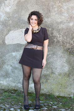 curvy model in a vintage 60s mini dress