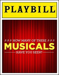 I got 58 out of 96! How Many Of These Musicals Have You Seen? Btw I marked the ones I've just heard the music from.