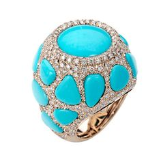 Chantecler Enchante Turquoise Ring | From a unique collection of vintage cocktail rings at https://www.1stdibs.com/jewelry/rings/cocktail-rings/