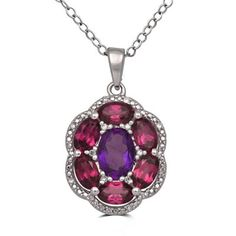 Amethyst, Rhodolite and Diamond Accent Pendant Necklace