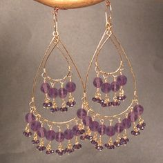 Rio+69+Hammered+Chandelier+Amethyst+Hoops+by+CalicoJunoJewelry,+$294.00