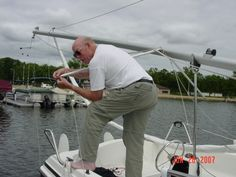 """Cary's getting the lines ready to get on the water - """"Don't fall off the boat!!!"""""""