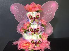 Mariposa tortas de pañales ideal para baby shower, pedazos de centro, regalos y decoración de cuarto de niños. Hecho a la medida.