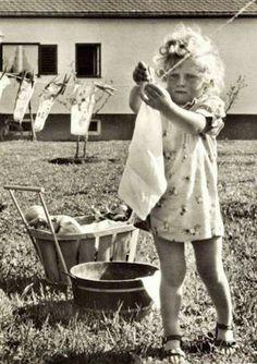 Vintage girl hanging