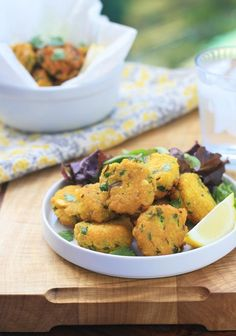 Spiced Yellow Split Pea Fritters from Girl Cooks World. Delicious and full of flavor, these tasty little fritters make a great snack, side dish or appetizer. Vegan and gluten free.