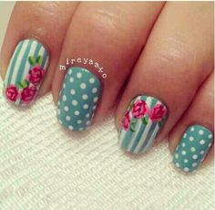 Gorgeous vintage looks nails, dots, stripes and roses what more could you want??