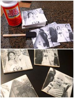 Make your own coasters! printed photos on regular printer paper, Cut the pictures out to fit the coasters. Mod Podge a thin layer onto the coaster and place the photo on top. Keep your hands dry from mod lodge as you smooth out the edges. Let dry!!! Once that is dry, add a layer over the photo.  Once that layer is dry, add felt circles to the bottom to prevent scratching any surfaces and that's it! It is recommended to add a water proof sealant