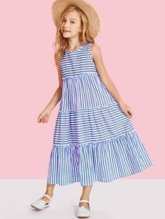 To find out about the Girls Tiered Mixed Striped Sleeveless Dress at SHEIN, part of our latest Girls Dresses ready to shop online today! Baby Girl Frocks, Frocks For Girls, Little Girl Dresses, Girls Dresses, Dresses Dresses, Work Dresses, Baby Dresses, Cotton Dresses, Casual Dresses