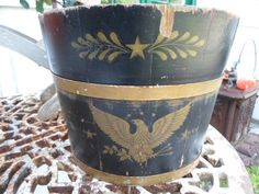 Vintage Wooden Bucket With Colonial Motif in by KimsKreations17, $24.99