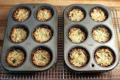 Muffin pan hash browns. I used generic frozen hash browns straight from the freezer. They have to stay in the oven for a long time, but making them and eating them... easy and delicious.
