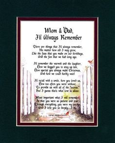 Hy Anniversary Dad And Mom Poems I Ll Always Remember