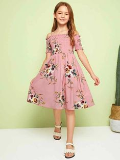 To find out about the Girls Floral Print Frilled Trim Shirred Dress at SHEIN IN, part of our latestGirls Dresses ready to shop online today! Girls Fashion Clothes, Tween Fashion, Teen Fashion Outfits, Kids Outfits, Fashion Dresses, Trendy Fashion, Mode Kpop, Shirred Dress, Vetement Fashion