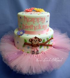 Clara would go nutts if there was a tutu on her cake!!! adorable Monkey Birthday Cake