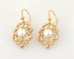 Gold pearl earrings,14k solid gold pearl earrings,seed pearl earrings , yellow gold with fresh water pearls pearl dangle earrings.