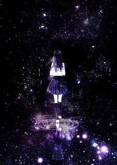 Image about anime in School. 学校 by Ħ ı y ø r ı anime girl, galaxy, and long hair image. Anime Galaxy, Galaxy Art, Manga Art, Manga Anime, Anime Art, Anime Kawaii, Fantasy Kunst, Fantasy Art, Image Manga