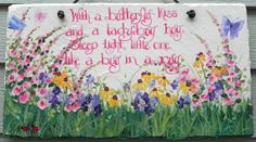 BUTTERFLY LADYBUG  and WILDFLOWERS Sign for by DancingBrushes, $69.00