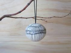 Black and White Lined Ornament. by MelissaMayaPottery Modern Christmas, White Christmas, Xmas, Ceramic Pottery, Pottery Art, Ceramic Pinch Pots, Black And White Lines, The Potter's Wheel, Holiday Ornaments