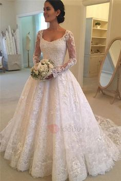 Tidebuy.com Offers High Quality Vintage Appliques Lace Button Wedding Dress with Long Sleeves, We have more styles for Muslim Wedding Dresses #muslimweddingdresses #laceweddingdresses