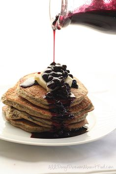 Low Carb Sugar-Free Blender Pancakes with Blueberry Syrup | All Day I Dream About Food