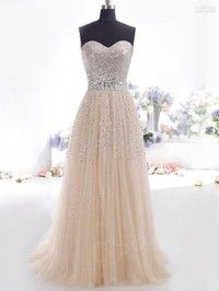 A-line dresses  strapless sequin  prom dress  backless full length evening dress
