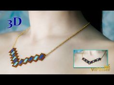 Tutorial shows you how to make Beaded Necklace. You can use this beading pattern for making Beaded Earrings, Necklace or Brace. Tutorial Colar, Necklace Tutorial, Beaded Earrings, Beaded Jewelry, Beaded Bracelets, Peyote Beading, Beading Tutorials, Necklace Designs, Peyote Stitch