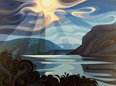 Shuswap Lake Painting by Christine Karron Abstract Landscape, Landscape Paintings, Lake Painting, Lake Art, Guache, Canadian Art, Art Plastique, Painting Inspiration, Fine Art America
