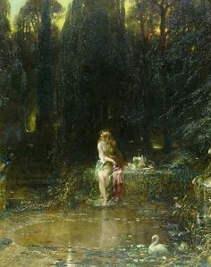 Alfred Joseph Woolmer, Susannah at a Stream, n/d, oil on canvas, cm Southampton City Art Gallery Inv. Classic Paintings, Old Paintings, Beautiful Paintings, Renaissance Paintings, Renaissance Art, Art Bizarre, Carl Spitzweg, Fairytale Art, Classical Art