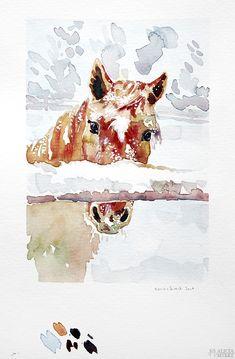 Illianas magiska vintervärld: Hästen Stjärna, efter ett foto av Illiana Anklew. Akvarell av Alicia Sivertsson - www.aliciasivert.se Gouache, Moose Art, Illustration, Movies, Movie Posters, Animals, Pictures, Animales, Films