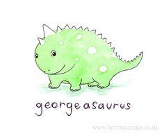Personalised Custom Dinosaur Name Print for Baby or by BryonyCrane, £12.00