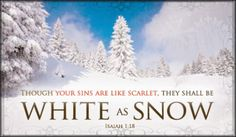 Though your sins are like scarlet, they shall be White As Snow. - Isaiah 1:18