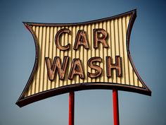 A cool neon car wash sign with simplicity in advertisement #carwashlive