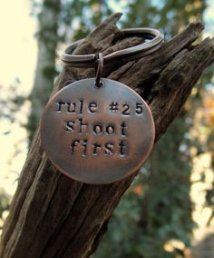 Key Chain Key Ring Zombie Rules Shoot First Hand by hoptimystic, $12.00