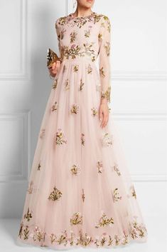 Valentino Embellished Embroidered Tulle Gown Concealed hook and zip fastening at back polyamide; Evening Dresses, Prom Dresses, Formal Dresses, Net Dresses, Hijab Prom Dress, Net Gowns, Dresses Online, Beautiful Gowns, Beautiful Outfits