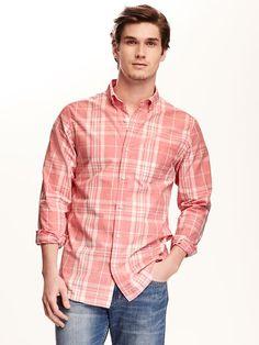Regular-Fit Classic Plaid Shirt for Men