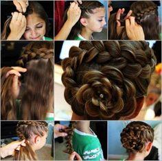 DIY rose flower hairstyle tutorial.Follow us: www.facebook.com/fabartdiy
