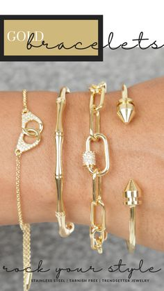 Look at the picture to see how to style your mix of bangles and bracelets. Gold stacked bangles and bracelets to adorn your wrist and keep you in style and fashion ready. Can be worn for everyday wear or with date night outfits, these bracelets are dainty enough to be minimal jewelry and bold enough to be statement jewelry. #goldbanglebracelets Dainty Necklace, Arrow Necklace, Bridesmaid Gifts, Bridesmaids, Gifts For Friends, Gifts For Her, Personalized Gifts For Mom, Minimal Jewelry, Gold Bangle Bracelet