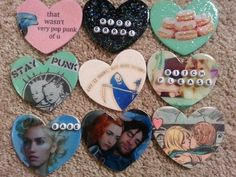 Home Made Girly Punk Rock Heart Shaped Buttons / Need all of these badges except for the Gwen Stephani (Bleck), Really like the Stay Punk, and The Eternal Sunshine Badges