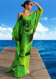 Emerald Silk Dress Spiral of Rose Petals. White Kaftan, Silk Kaftan, Maxi Wrap Dress, Silk Dress, African Maxi Dresses, Mode Inspiration, Mode Style, African Fashion, Ideias Fashion