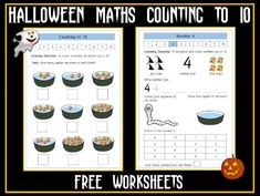 These are Halloween-based theme worksheets on number recognition and counting to You may also be interested in: Set of 17 Halloween Themed Worksheets o. Halloween Math, Halloween Themes, Powerpoint Games, Object Drawing, Number Recognition, Primary Classroom, Guided Reading, Teaching Resources, Counting