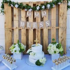 God Bless Banner First Communion Banner Christening Banner Baptism Party Decorations, First Communion Decorations, Balloon Decorations, Baby Boy Christening Decorations, Christening Centerpieces, Christening Table Ideas, Recuerdos Primera Comunion Ideas, First Communion Banner, Boys First Communion