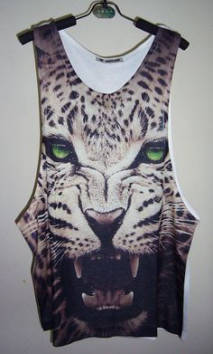 GreenEye Leopard Tank Top Tiger Top Tiger Shirt by PStopshop