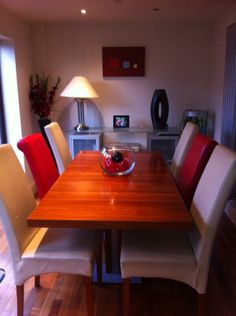 Another Happy Customer With X2 Red Chelsea Chairs That Have Transformed Her Dining Room Just