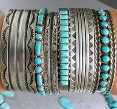 Feminine-Old-Pawn-ANGELIC-Light-BLUE-Square-Turquoise-ROW-Cuff-Bracelet
