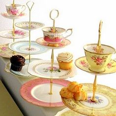 I've seen this idea with just the plates...love the addition of the tea cup and saucer