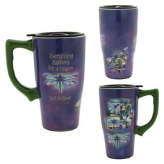 "For the Pet MOM ""Just Believe"" Dragonfly Ceramic Travel Mug at The Animal Rescue Site"