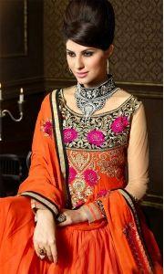 Orange Net Chiffon Lehenga Style Anarkali Suit