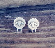 Sheep handmade sterling silver stud earrings unique gift #StudEarrings